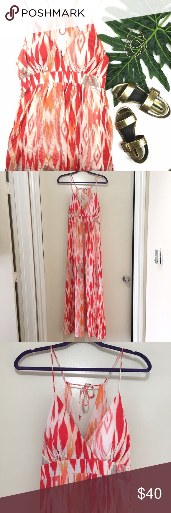 Green Dragon Red & Pink Tie Dye Slit Maxi Dress Stunning dress. It is perfect to take on any beach vacation. You can wear this over your swimsuit or wear this baby for a romantic dinner at the beach. Features an all over tie dye print in pink, orange and red on a white background, padded cups, tie at back, leg slit and enclosed zipper on the side. 100% rayon. Green Dragon Dresses Maxi