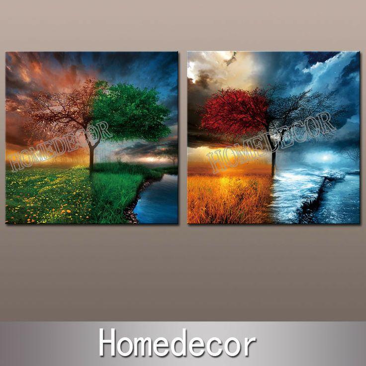 2pcs Large Abstract Art Of 4 Season Spring Summer Autumn Winter Modern Wall Art Oil Canvas