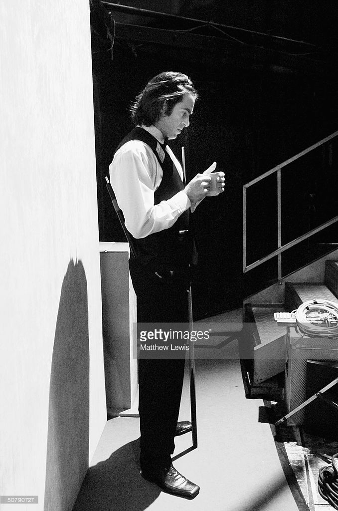 Ronnie O'Sullivan prepares himself backstage before the Embassy World Snooker Semi Final match...