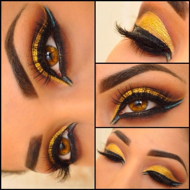 eyeshadows are from the @dressyourface for @anastasiabeverlyhills #tamannapalette the gold on lid is @sugarpill goldilux loose eyeshadow