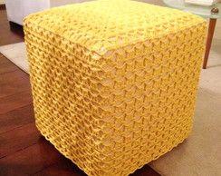 Capa para Puff em Crochê Amarela