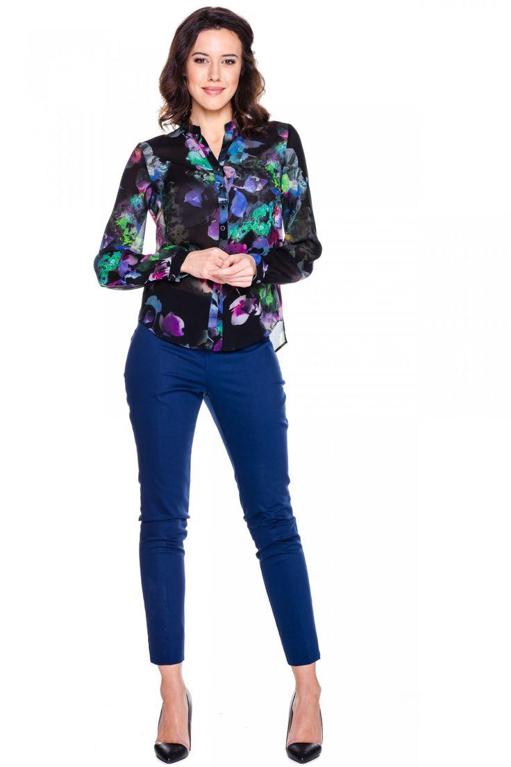 Bluzka na guziczki w kwiatowe wzory - L'ame de Femme