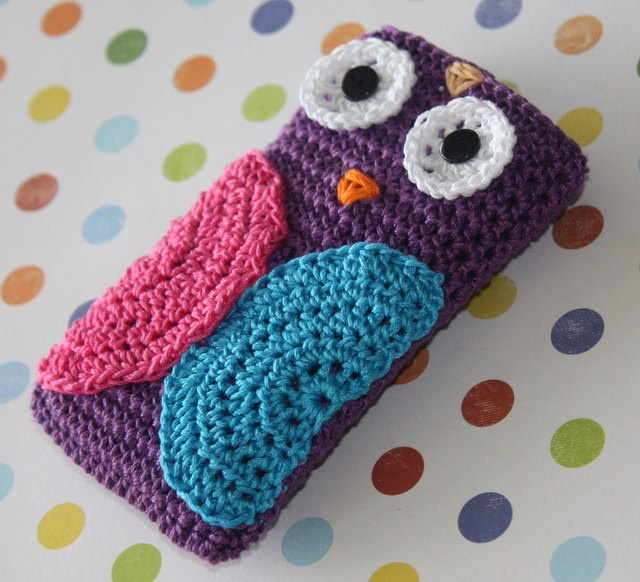 Owl Cell Phone Cover Crochet IPhone Made to Order by kylieB