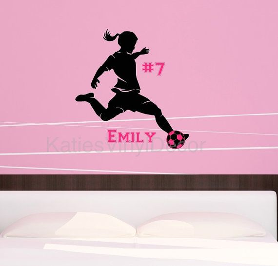 Epic Personalized Soccer Girl Player Vinyl Wall Decal with Name Soccer Wall Decor Female Soccer Player Soccer