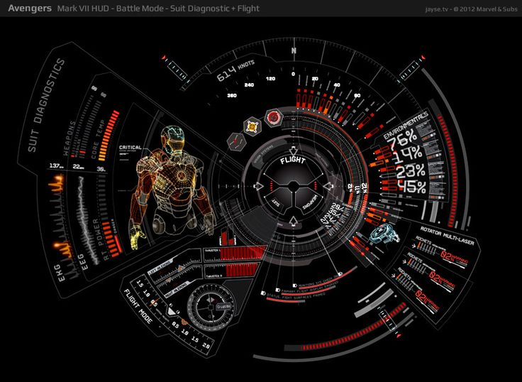 avengers ux / hud design - mark vii hud - battle mode - suit diagnostic + flight - jayse