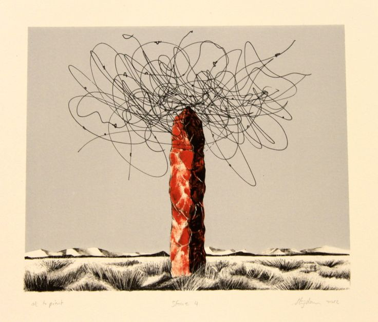 "Rust-en-Vrede Gallery – ART EXCHANGE: MEXICO - Participating SA Artist Strijdom vd Merwe - ""Stone IV"" Two Colour Lithograph"