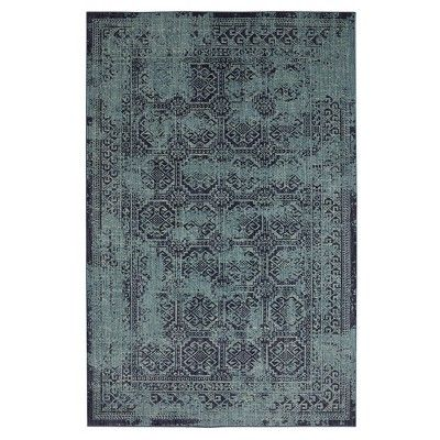 Overdyed Area Rug Turquoise 7 X 10 Threshold