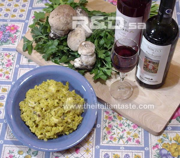 Risotto with fresh porcini mushrooms. Low fat recipe with rice. Vegetarian and vegan recipe too. Calories and wine to pair.