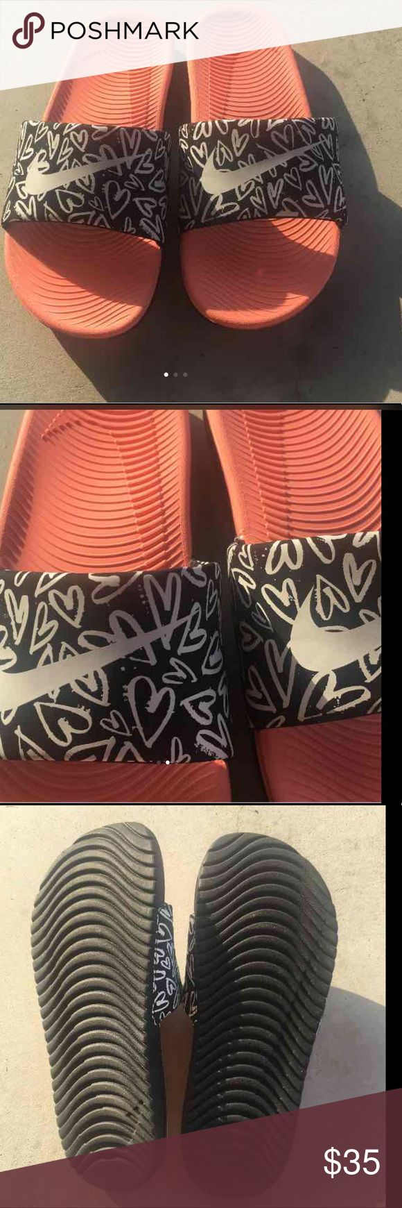 Nike sliders Like new, never worn. Size 6y but fits size 7-8 women's. coral peach color. Nike Shoes Sandals