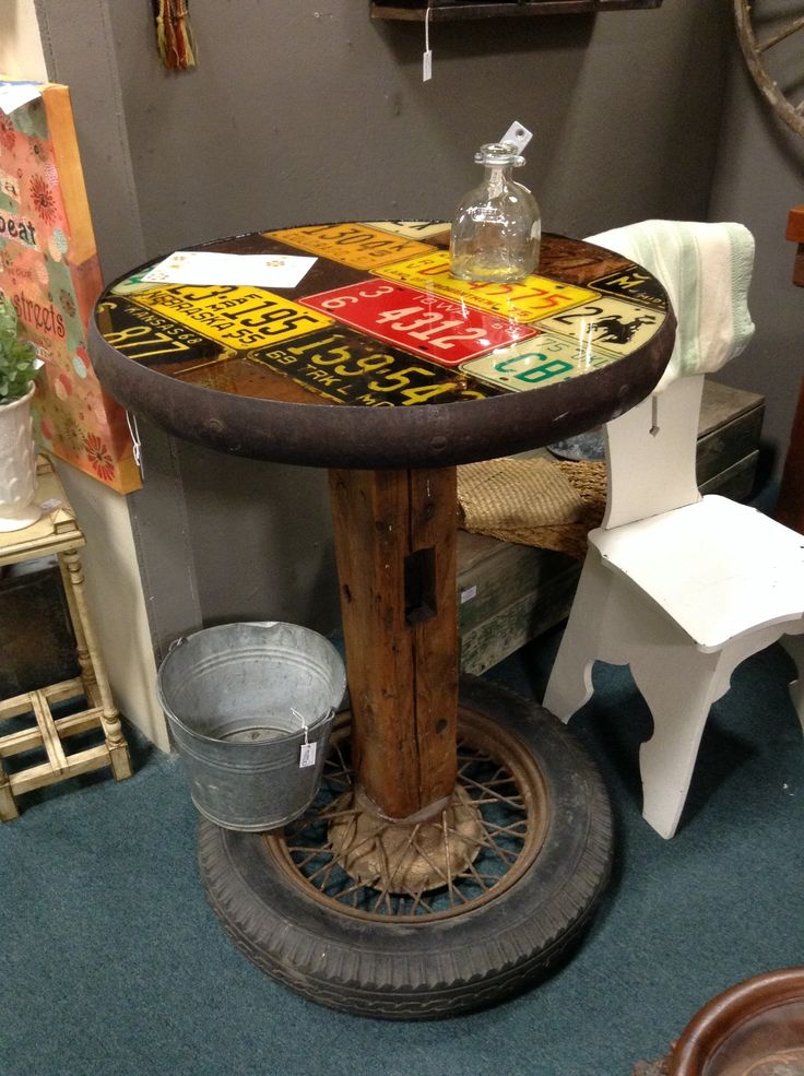 Check Out This Awesome License Plate Table! I Can Totally See This In A Man