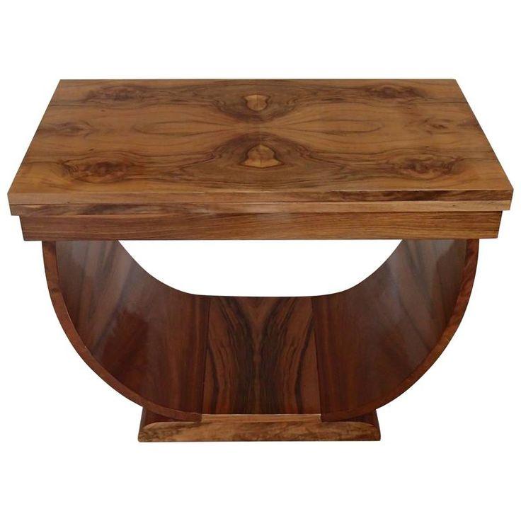 Art De?co Console Side Table Coffee Table Foldable Walnut Burr U Shaped Leg  |