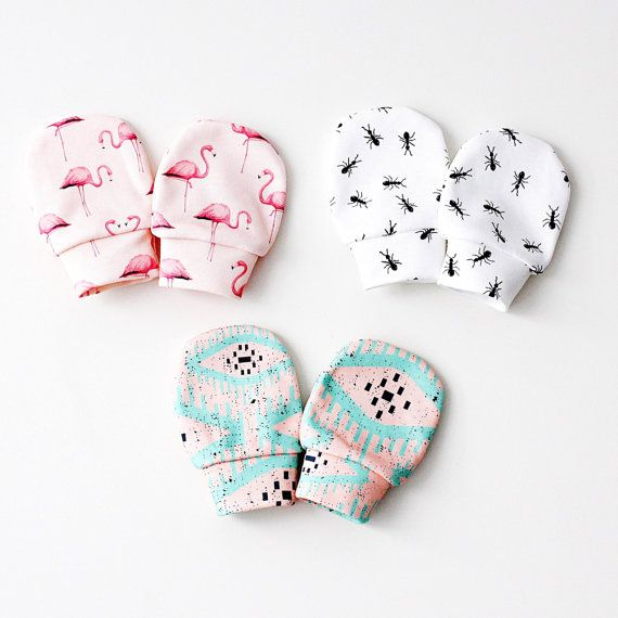 Organic cotton baby mittens baby mittens by RockyRacoonApparel