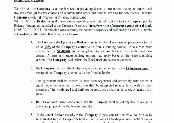Referral Fee Agreement Template Best Of Business Referral Agreement Referrals Templates Lesson Plan Templates