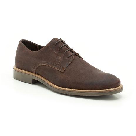 With a contemporary twist on a classic Derby design, these men's shoes are created in premium brown suede with a fashionably worn finish and contrast stitching. Checked textile linings add to the smart casual appeal.
