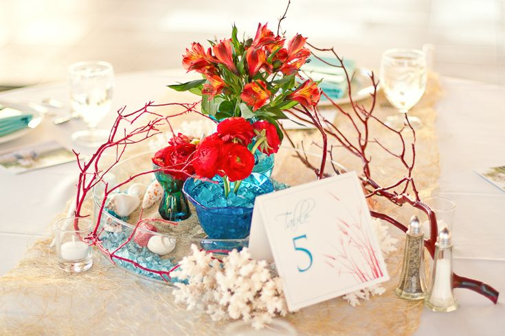 Modern Red & Aqua Outer Banks Wedding  EveryLastDetailBlog.com | BrideClick