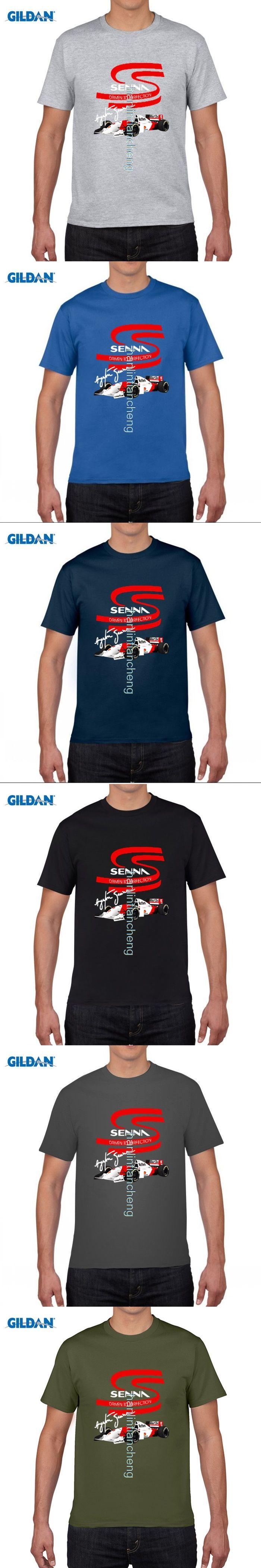 GILDAN DIY style mens t shirts Summer Style Fitness Brand AYRTON SENNA World Legend Logo T-shirt transfers T shirt