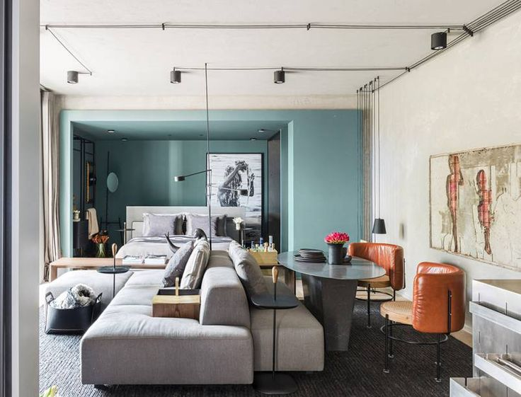TriArt Arquitetura Estúdio +55 Casa Cor São Paulo 2017: na planta aberta o quarto ganha tom azul acinzentado.