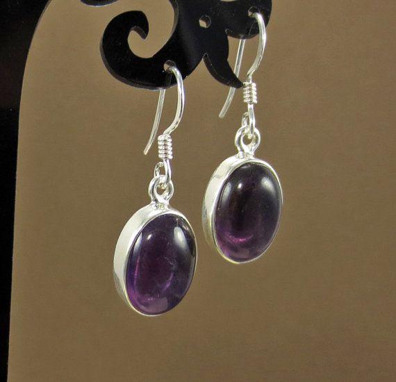 Púrpura Pendientes Amatista amatista amatista plata joyas de