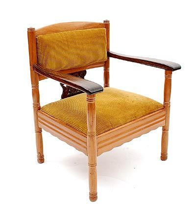 Found on www.botterweg.com - Mahogany Nieuwe Kunst New Art chair with armrests with fabric seat and openworked backrest design Theo Nieuwenhuis 1866 - 1951 for the S.S.Simon Bolivar commissioned by the K.N.S.M in 1925 executed by Pander Zn The Hague / the Netherlands