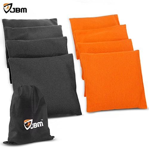 cool JBM Cornhole Bag 8 Color Available ( Pack of 8 ) Weather Resistant Cornhole Bags with Recycled Plastic Pellets for Tossing Core hole Game (Orange & Black, Regular)