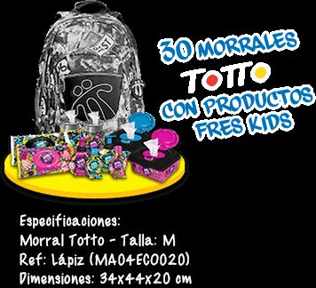 Morral Totto con productos FRES KIDS