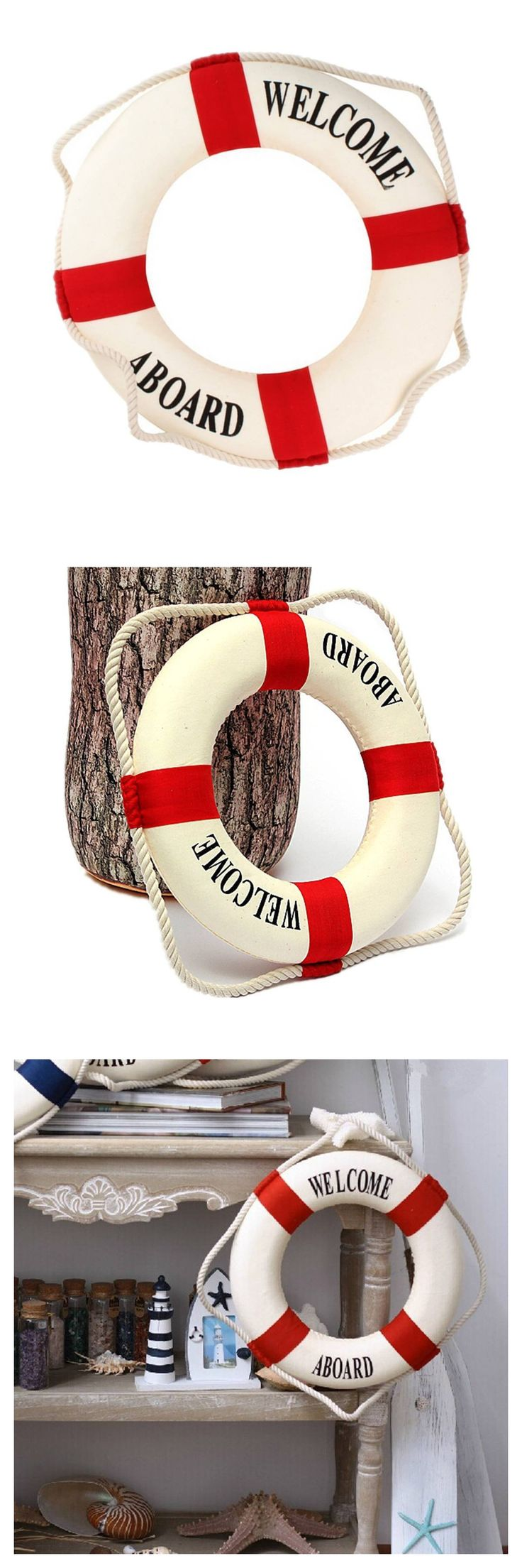 Welcome aboard boat ships life ring clock - Welcome Aboard Foam Nautical Life Lifebuoy Ring Boat Wall Hanging Home Decoration Red 50cm