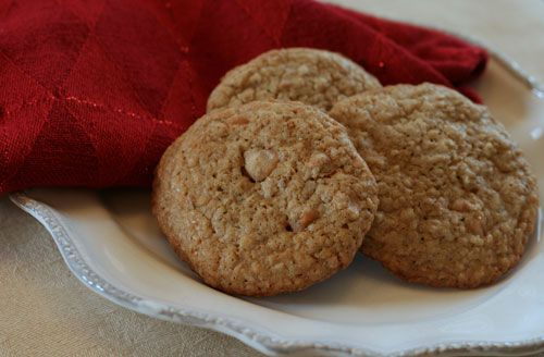 Steel Cut Oatmeal Scotchies Cookies Recipe (trading for white chocolate and a bit of cocoa in the mix)