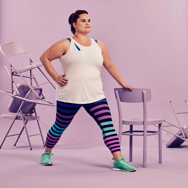 The Cheapest, Most Effective 30-Day Challenge Yet  #refinery29  http://www.refinery29.com/2016/08/118411/chair-exercises-30-day-fitness-challenge#slide-5  Lunge PulsesStand next to the chair, with the back of the chair facing your left side. Spread your legs wide — left foot forward and right foot back — with both toes pointing forward; then, bend both knees and lower down into a lunge, with both knees at about 90-degree angles. (Aim your left knee toward your middle toes to keep it from…