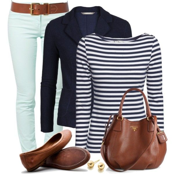 Blazer, Skinny Jeans & Flats, created by wishlist123 on Polyvore