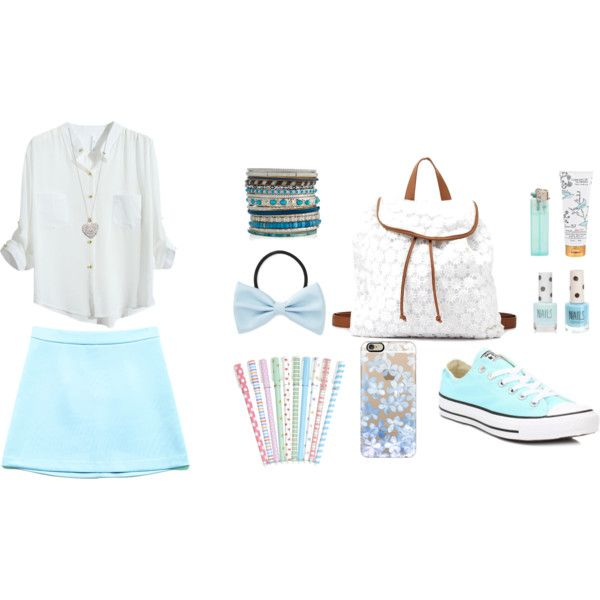 Sweet outfit n.23 by charlylive on Polyvore featuring Mode, Forever 21, Converse, Charlotte Russe, Accessorize, Casetify, Library of Flowers and Topshop