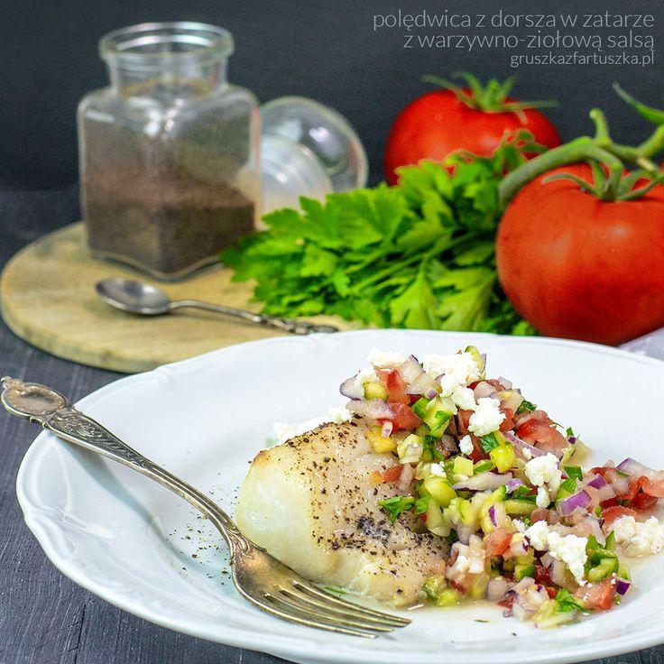 polędwica z dorsza w zatarze z warzywno-ziołową salsą