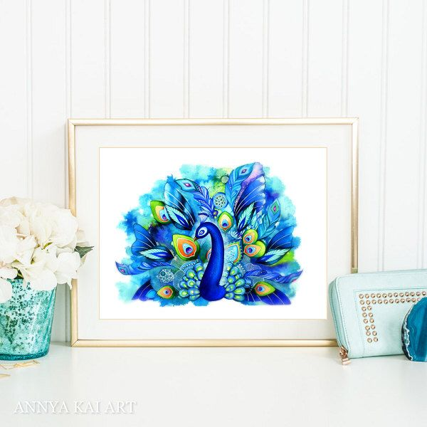 Peacock Decor - Peacock Painting Watercolor - Peacock Wall Art - Whimsical Painting - Abstract Watercolor Gallery Wall Art by AnnyaKaiArt on Etsy https://www.etsy.com/listing/108330661/peacock-decor-peacock-painting