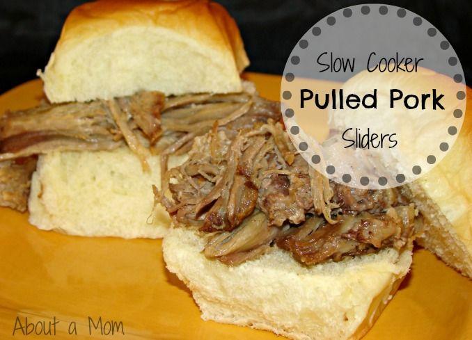 Slow Cooker Pulled Pork - Tender and succulent pork shoulder roast piled high on my favorite sweet rolls. Yum!