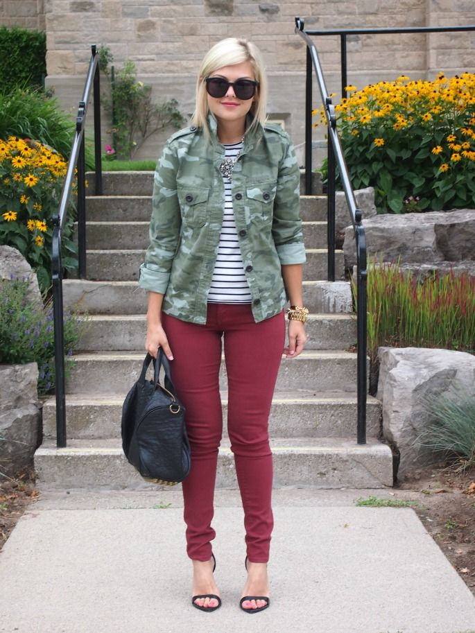 camo jacket, burgundy pants, striped top: