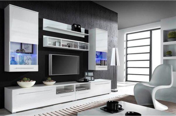 Luna tv-wandmeubel uitgevoerd in het hoogglans wit met RGB LED ...