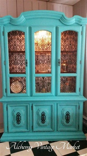 Turquoise Paint And Black Damask Paper China Cabinet