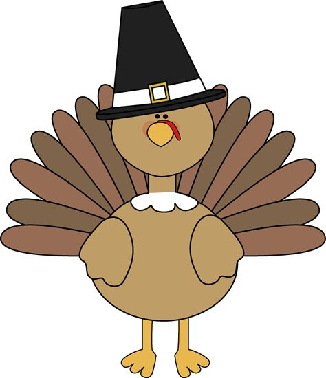 Turkey Wearing a Pilgrim Hat-free clipart from MyCuteGraphics