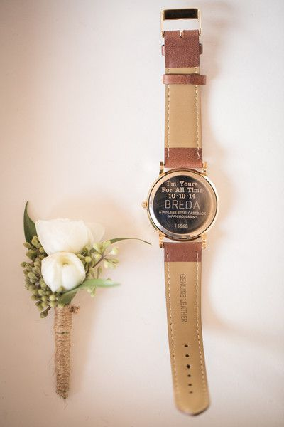 "Gift your groom an engraved watch for the big day! ""I'm yours for all time."" {@ambergreenphoto}"