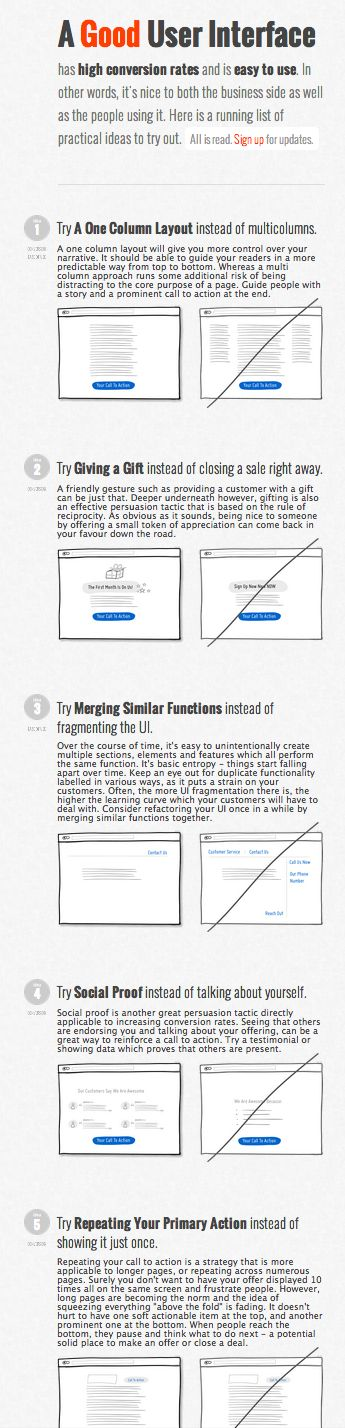 Good UI - visual guide of design best-practices