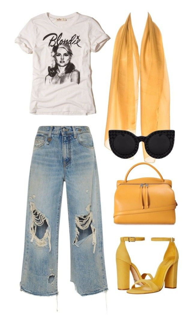 """little miss sunshine"" by ksasya on Polyvore featuring Hollister Co., R13, Jil Sander, Schutz, vintage, contest, yellow, black and legend"