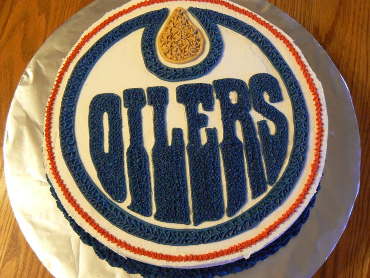 Cake idea. I had better start working on my decorating skills. Also, anyone who sees this and also knows Bevan, he doesn't know the potential Oilers theme of his birthday party and I'd like to keep it that way