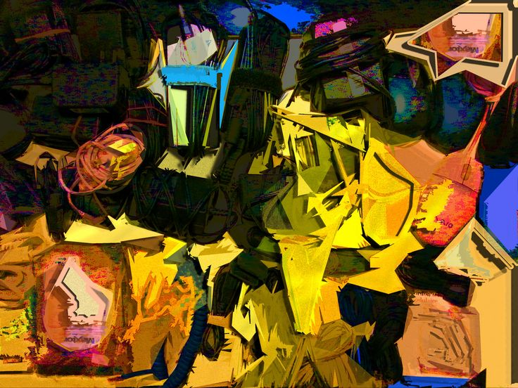 "Original image taken to post on Kijiji in order to get rid of some surplus electronics. Saturation maxed, ""cutout"" filter applied, each colour selected and copied to a separate layer, various layer styles added (primarily drop shadow and inner shadow). Noise added to some layers to give texture to the larger colour blocks. Some logos are still discernible.   Best viewed at full size."