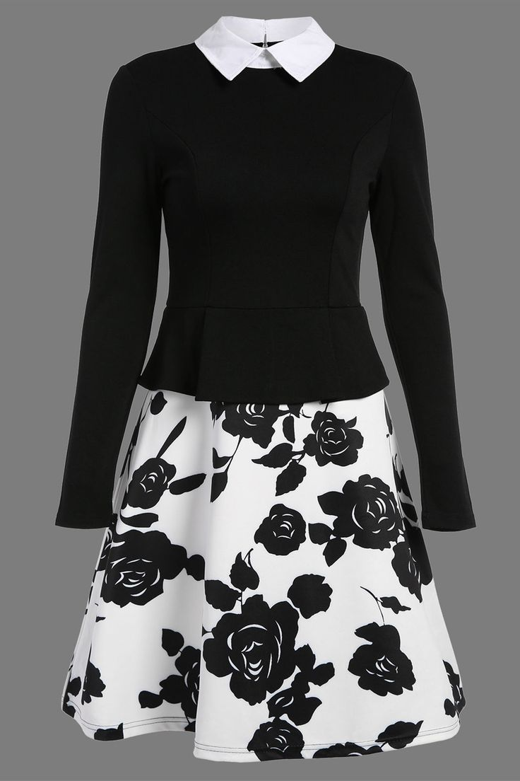 $25.11 Vintage A Line Print Panel Dress - Black