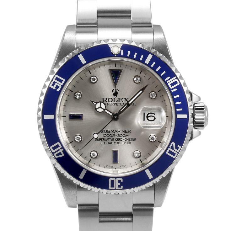 Men's Rolex Submariner Stainless Steel Silver Serti Sapphire Dial Blue 60min Bezel Oyster Band