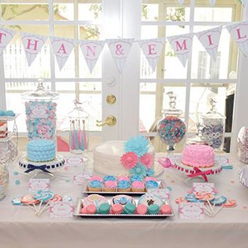 28 best images about baby shower for twins on pinterest for Baby shower decoration ideas for twin girls