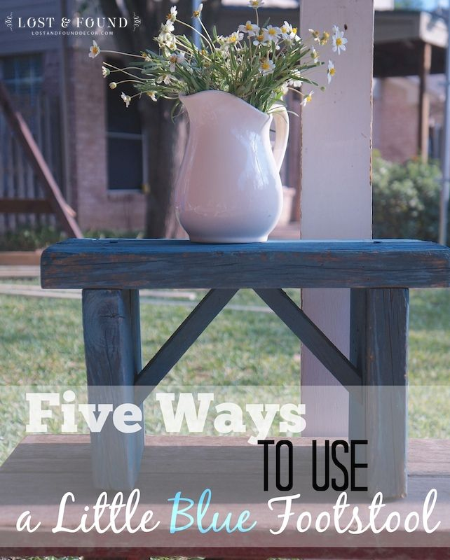 Five Ways to Use a Small Footstool | http://www.lostandfounddecor.com/hunts-finds/five-ways-use-a-small-footstool/
