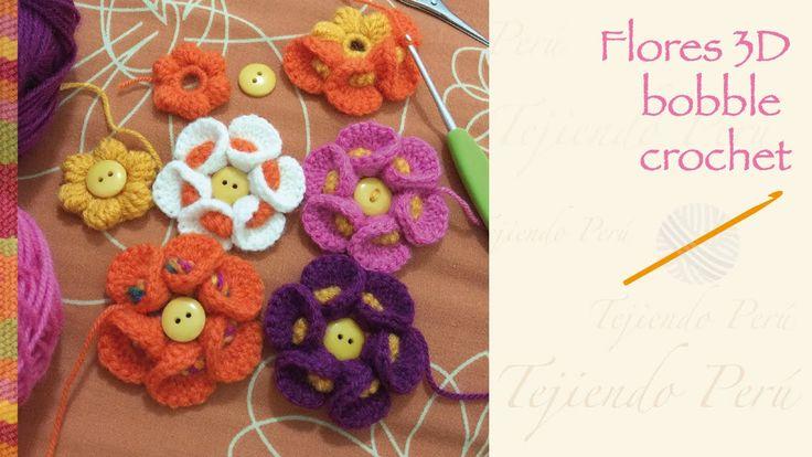 Flores 3D a crochet. Me encantan los tutoriales de esta señora. Se entienden superbien :)