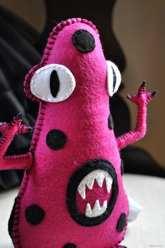 Monster Plush - Bad Mood Monster series - ''Betsy Blob aka Little Miss Bossy'' - all hand sewn felt plush monster - OOAK