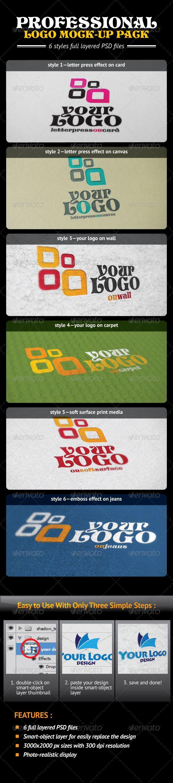 6 poster design photo mockups - Professional Logo Mock Up Pack