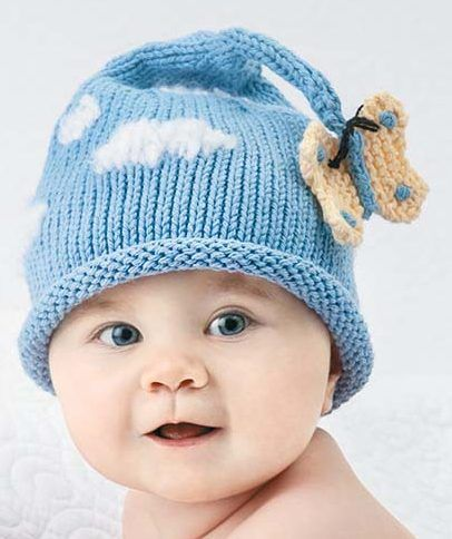 Knitting Pattern for Butterfly and Cloud Baby Set